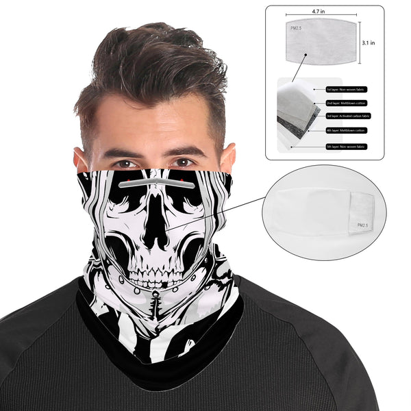 Skeleton Knight Skull Snood Face Mask Balaclava Scarf Cover | 2x - 50x Disposable Five Layer Filter Pads Available