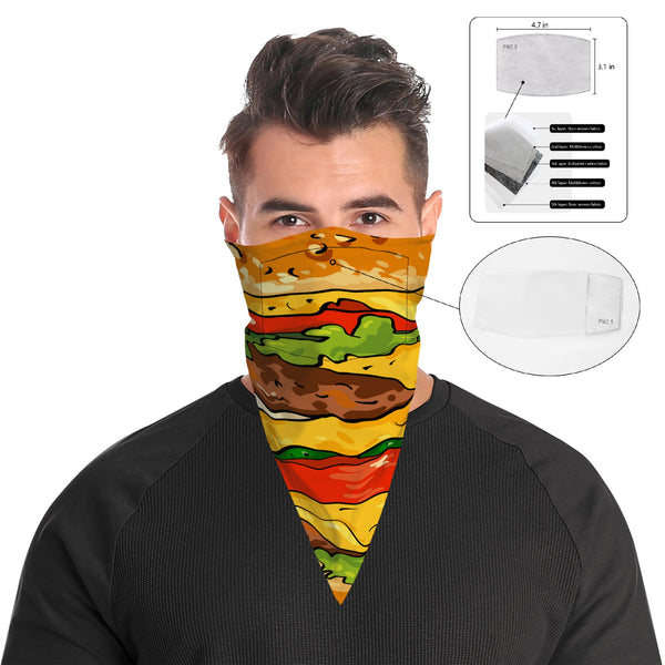 Burger Face Mask Bandana Scarf Cover | 2x - 50x Disposable Five Layer Filter Pads Available