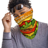 Burger Snood Face Mask Balaclava Scarf Cover | 2x - 50x Disposable Five Layer Filter Pads Available - WickyDeez