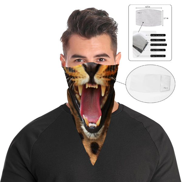 Roaring Leopard Bandana Face Mask Cover | 2x - 50x Disposable Five Layer Filter Pads Available