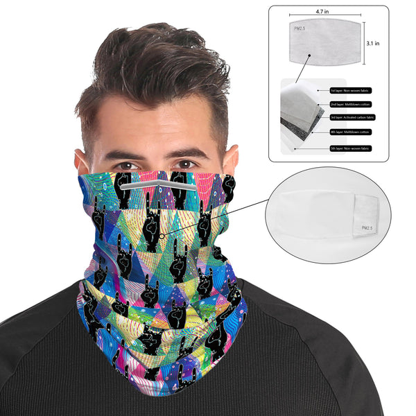 RockOn Snood Face Mask Balaclava Scarf Cover | 2x - 50x Disposable Five Layer Filter Pads Available