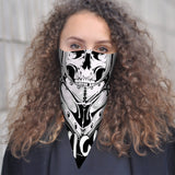 Skeleton Knight Skull Bandana Scarf Mask | 2x - 50x Disposable Five Layer Filter Pads Available - WickyDeez