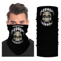 Vampire Skull Mouth Snood Face Mask Balaclava Scarf Cover | 2x - 50x Disposable Five Layer Filter Pads Available - WickyDeez