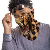 Roaring Leopard Face Mask Balaclava Scarf Cover | 2x - 50x Disposable Five Layer Filter Pads Available