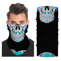 Gothic Skull Snood Face Mask Balaclava Scarf Cover | 2x - 50x Disposable Five Layer Filter Pads Available