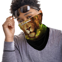 Lion Snood Face Mask Balaclava Scarf Cover | 2x - 50x Disposable Five Layer Filter Pads Available - WickyDeez