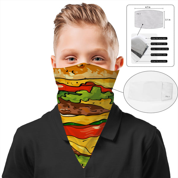 Children's Burger Face Mask Bandana Scarf Cover | 2x - 50x Disposable Five Layer Filter Pads Available - WickyDeez