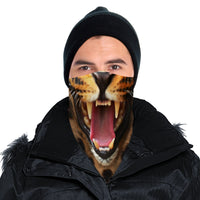 Roaring Leopard Bandana Face Mask Cover | 2x - 50x Disposable Five Layer Filter Pads Available - WickyDeez