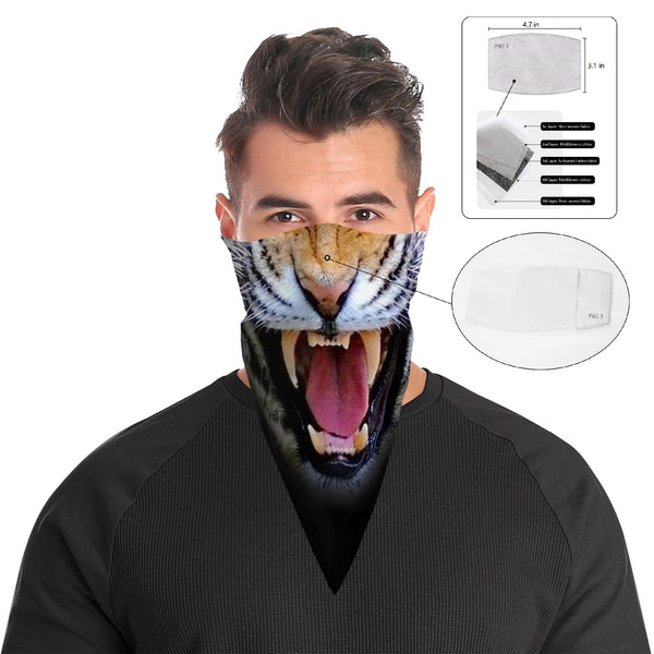 Roaring Tiger Bandana Face Mask Scarf Cover | 2x - 50x Disposable Five Layer Filter Pads Available - WickyDeez