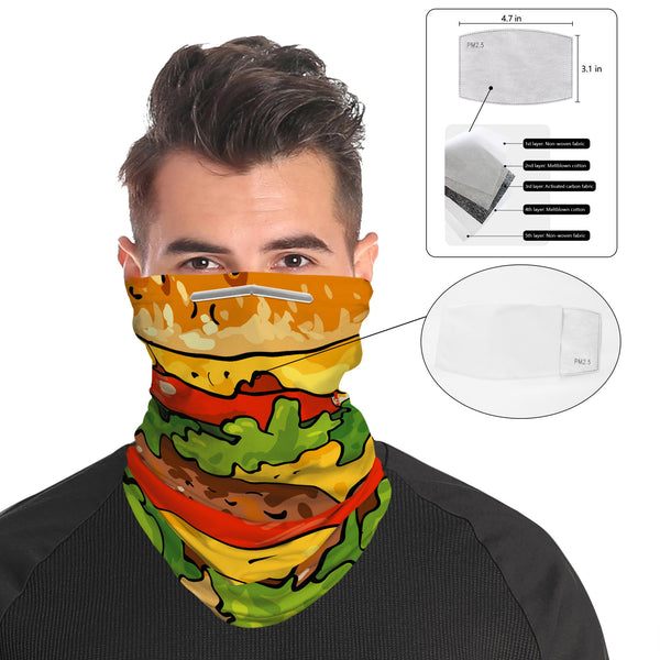 Burger Snood Face Mask Balaclava Scarf Cover | 2x - 50x Disposable Five Layer Filter Pads Available