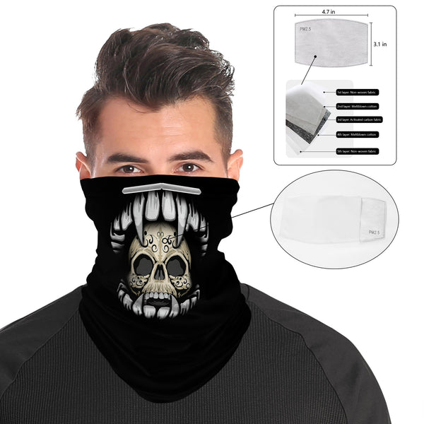 Vampire Skull Mouth Snood Face Mask Balaclava Scarf Cover | 2x - 50x Disposable Five Layer Filter Pads Available