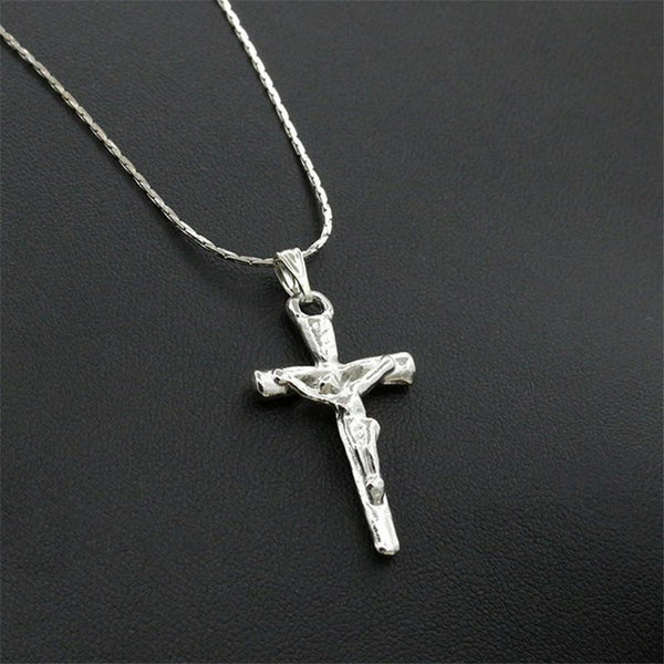 Trendy Stainless Steel Simple Little Cross Clavicle Chain Pendant Necklace for Men or Women-Women's Accessories-WickyDeez