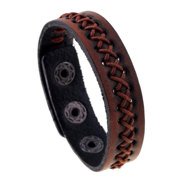 Unique Vintage Design Wide Leather Bracelets & Bangles - For Men & Women Fine Jewellery-Women's Accessories-WickyDeez