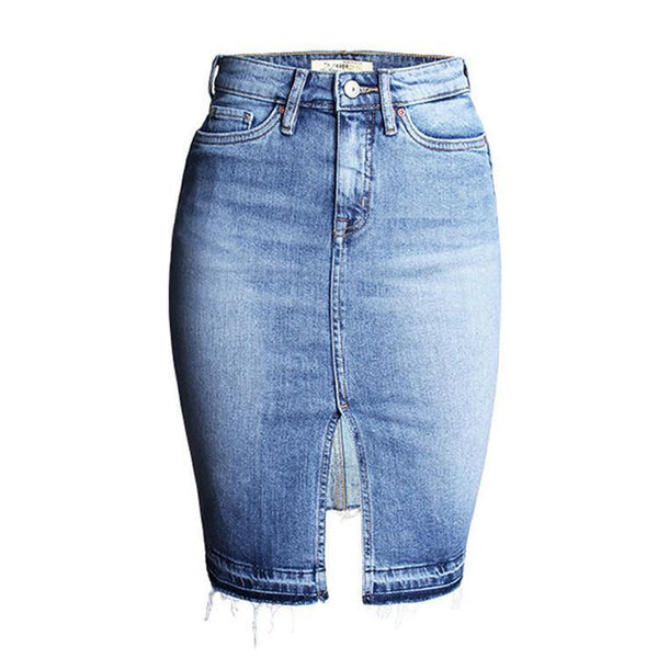 Vintage Washed Look Denim Skirt Women High Waist Crotch Jeans Skirt-Women's Bottoms-WickyDeez