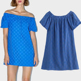 Bluish Embroiedry Mini Dress with Elastic Straight Neckline-Women's Dresses-WickyDeez