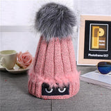 Winter Autumn Fashion Women / Girl's Wool Knitted Caps High Quality Furry Ball Design Knitted Hats-Women's Accessories-WickyDeez