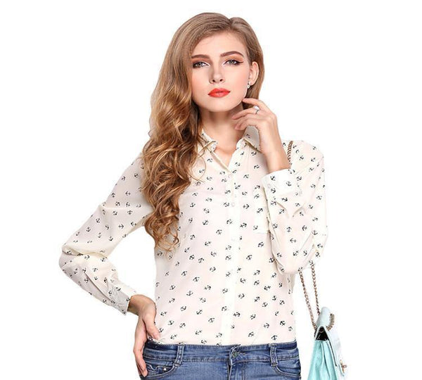 Women Blouse Top Ladies Chiffon Shirt Casual Slim Long Sleeve Turn Down Collar Office Tee-Women's Tops-WickyDeez