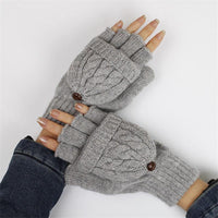 Women's 2 in 1 Fingerless Gloves & Mittens - Available in 5 Colors-Women's Accessories-WickyDeez