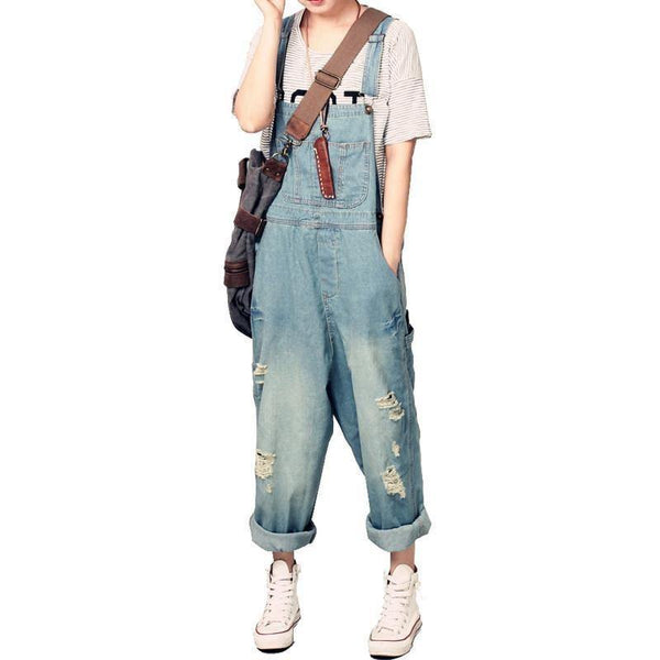 Women's Casual Loose Denim Overalls Ripped Hole Baggy Jeans Wide Leg Pants-Women's Tops-WickyDeez