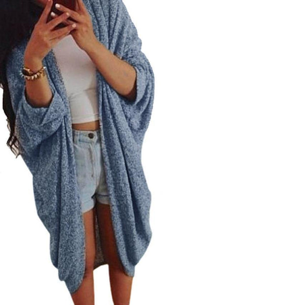 Women's Casual Outerwear Three Quarter Sleeve Knitted Cardigan Coat Jacket-Women's Tops-WickyDeez