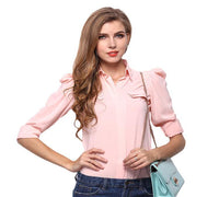 Women's Chiffon Blouse Shirt - Casual Slim Fit Turn Down Collar Top (2 Colors)-Women's Tops-WickyDeez