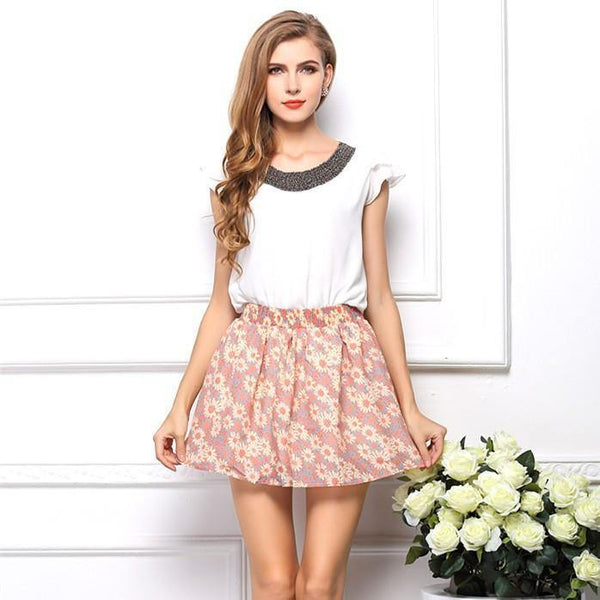 Women's Chiffon Pattern Print Above Knee Mini Skirt Style-Women's Skirts-WickyDeez
