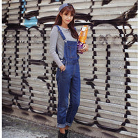 Women's Cool & Casual Loose Denim Overalls Jumpsuit Long Pants Jeans Version-Women's Tops-WickyDeez