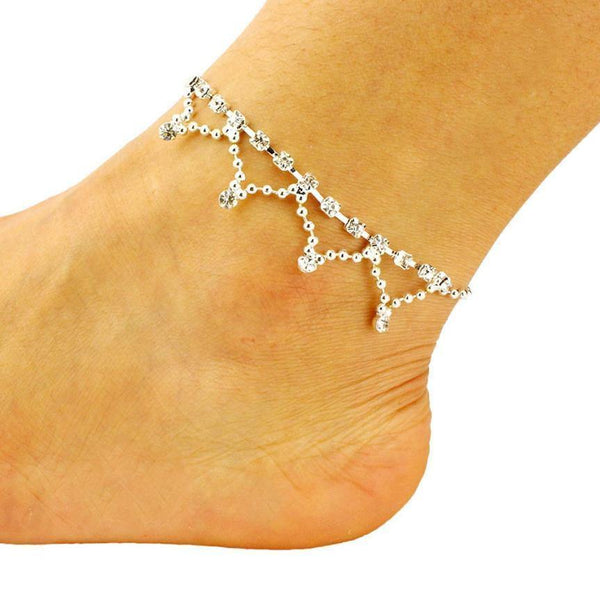 Women's Diamond Tassel Anklets European Footwear Jewellery Bells Tail Chain-Women's Accessories-WickyDeez