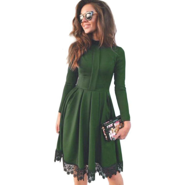 Women's Elegant High Collar Black Lace Long Sleeve Green Vintage Dress-Women's Dresses-WickyDeez