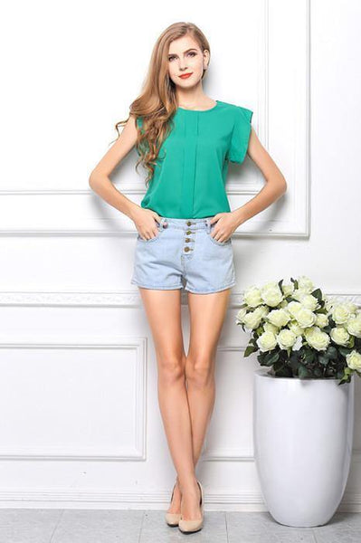 Women's European Style Chiffon O-Neck Short Sleeve Solid Summer Blouse - 4 Colors-Women's Tops-WickyDeez