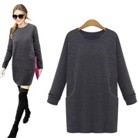 Women's Fashion Dress Top Long-sleeve Thick Pure Color Dress Black/Deep Gray-Women's Dresses-WickyDeez