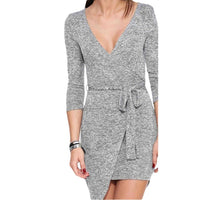Women's Fashion Summer Sexy Slim Fit V-neck Hale Sleeve Asymmetrical Gray Dress Clothing-Women's Dresses-WickyDeez