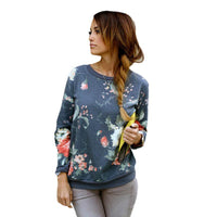 Women's Floral Pattern O-Neck Collar Slim Hoody Pullovers - Size S-XXL-Women's Tops-WickyDeez