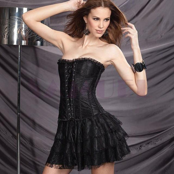 Women's Gothic Overbust Push Up Corset Dress-Women's Dresses-WickyDeez