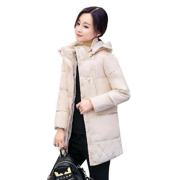 Women's High Quality Down Parkas Medium Length Oversized Winter Thick Hooded Coat Jacket-Women's Tops-WickyDeez