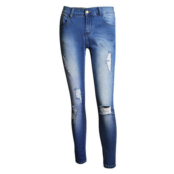 Women's High Waist Slim Pencil Pants Skinny Jeans Hole Design Denim Pants Size XS-4XL-Women's Bottoms-WickyDeez