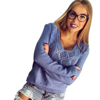 Women's Hollow Casual Loose Long Sleeve Knitted Pullover Sweater Jumper Top Knitwear-Women's Tops-WickyDeez