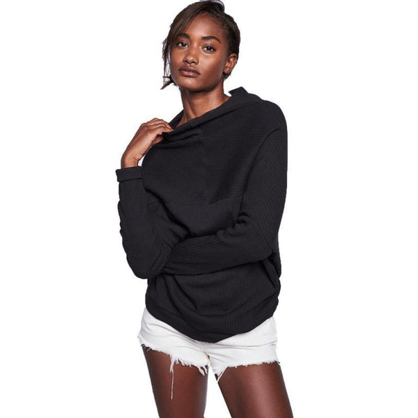 Women's Long Sleeve Round Neck Black Coat Pullover / Sweater Top-Women's Tops-WickyDeez