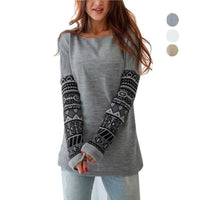 Womens Long Sleeve T-Shirt Casual Loose Cotton Patchwork Top 3 Colors-Women's Tops-WickyDeez
