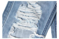 Women's Mid Waist Shredded Hole Denim Jeans Pants Light Washed Loose Cotton Trousers-Women's Bottoms-WickyDeez