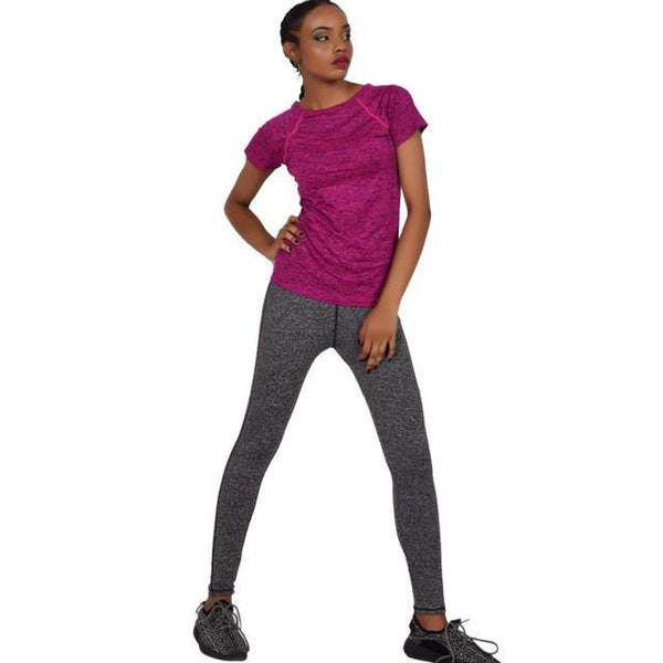 Women's O Neck Fitness Workout Tee Top-Women's Tops-WickyDeez