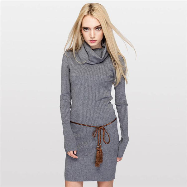 Women's Pure Color Slim Fit Warm Turtleneck Long Knitted British Style Sweater and Pullover-Women's Dresses-WickyDeez