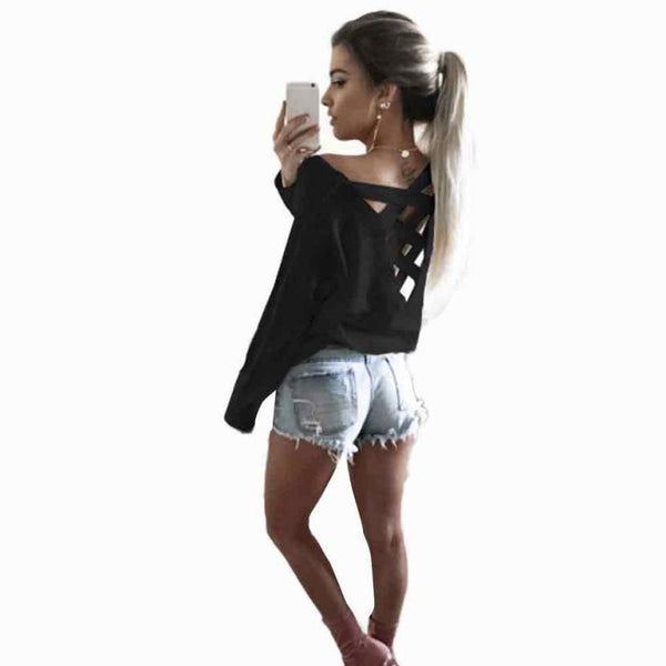Womens Sexy Casual T-Shirt Bandage Decoration Backless Long Sleeve Tops 4 Colors-Women's Tops-WickyDeez