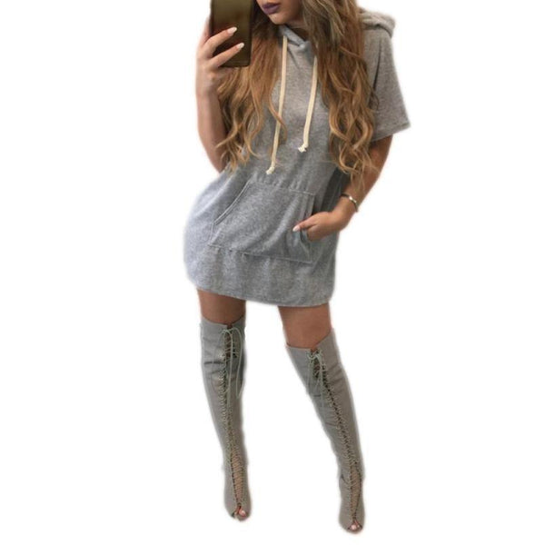 Women's Short Sleeve Gray Hoodies Sweatshirt Jumper Pullover Dress-Women's Dresses-WickyDeez