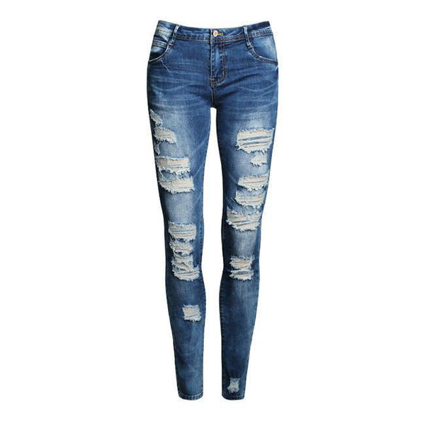 Women's Skinny Ripped Jeans Fashion Style Holes Denim Harem Pants-Women's Bottoms-WickyDeez