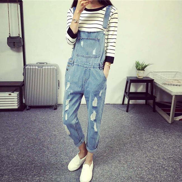 Women's Slim Loose Style Denim Strap Overalls Jumpsuit Trousers w/ Holes - Sizes S-M-L-XL-Women's Tops-WickyDeez