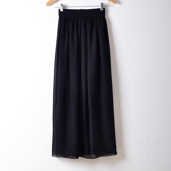 Women's Summer Chiffon Black Sashes Empire Mid-Calf Solid Skirts - Available in 20 Colors-Women's Skirts-WickyDeez