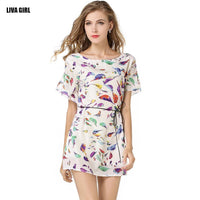 Women's Summer Printed Batwing Sleeve O-neck A-line Mini Chiffon Dress (Available in Black/White Colors)-Women's Dresses-WickyDeez