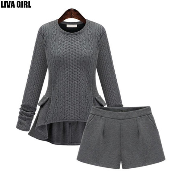 Women's Sweater And Shorts Sets Tops+Shorts Europe Style Slim Long Sleeve Knitted Suit Twinset Women Cashmere Suit-Women's Tops-WickyDeez