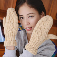 Women's Warm Winter Knitted Cashmere Twisted Gloves Mittens-Women's Accessories-WickyDeez